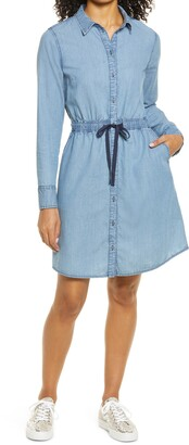 Halogen Tie Waist Long Sleeve Denim Shirtdress