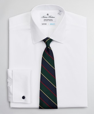 Brooks Brothers Regent Fitted Dress Shirt, Performance Non-Iron with COOLMAX, Ainsley Collar Twill French Cuff