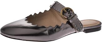 Chloé Metallic Grey Foil Leather Lauren Buckle Strap Flat Slides Size 36