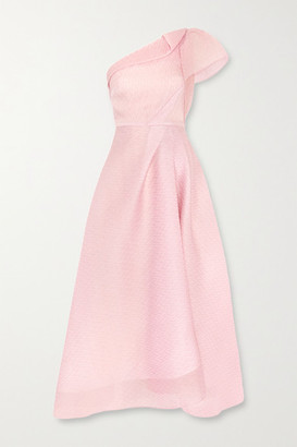 Roland Mouret Ostuni One-shoulder Silk-blend Organza-jacquard Midi Dress - Blush
