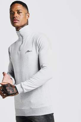 boohoo MAN Signature Muscle Fit Funnel Neck 3/4 Zip Sweat