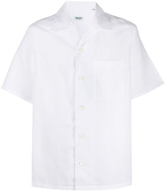 Kenzo Short Sleeve Linen-Blend Shirt