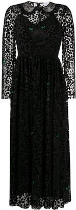 RED Valentino Flock Leopard-Print Long Dress