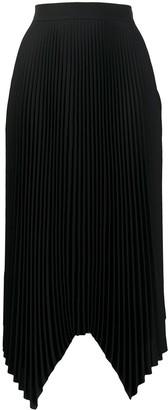 Tory Burch Pleated Handkerchief Hem Midi Skirt