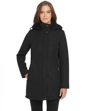 Women's Weathercast Chevron Quilted Hooded Walker Jacket