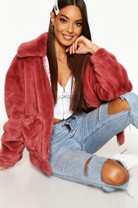 boohoo Faux Fur Oversized Bomber Jacket