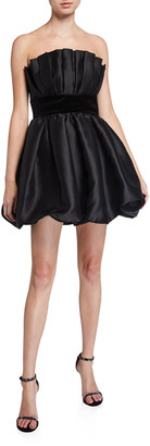Jay Godfrey Lola Bubble Skirt Taffeta Bustier Mini Dress with Velvet Waistband