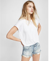 Express low rise heart denim cutoff shorts