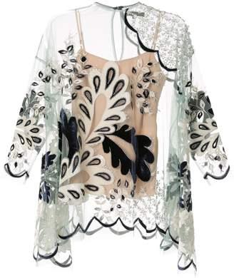 Biyan sheer embellished tunic top