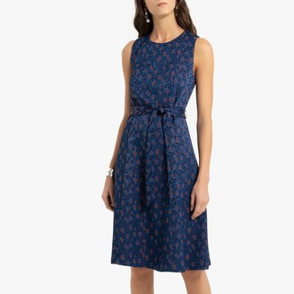 Anne Weyburn Sleeveless Midi Shift Dress in Jacquard Leopard Print with Tie-Waist