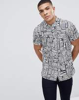 Armani Exchange All Over Logo Short Sleeve Shirt In Navy