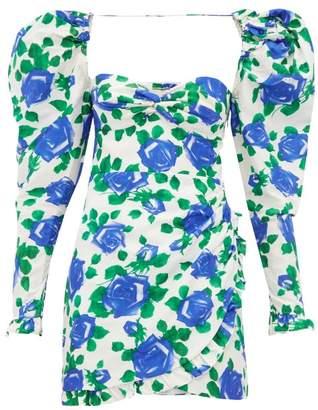 Alessandra Rich Rose Print Sweetheart Neck Silk Mini Dress - Womens - Blue White
