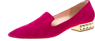 Nicholas Kirkwood Magenta Suede Casati Faux Pearl Heel Pointed Toe Loafers Size 40