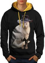 Mister Cat Hat Cute Funny Howdy Cat Men L Contrast Hoodie | Wellcoda