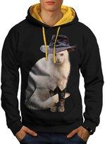 Mister Cat Hat Cute Funny Men L Contrast Hoodie | Wellcoda
