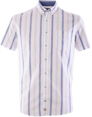 Double Two Striped Short Sleeve Oxford Shirt