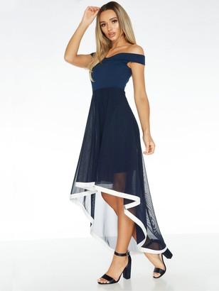 Quiz Bardot Mesh Skirt Dip Hem Dress with Contrast Hem - Navy