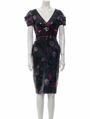 Marchesa Notte Floral Print Knee-Length Dress Purple