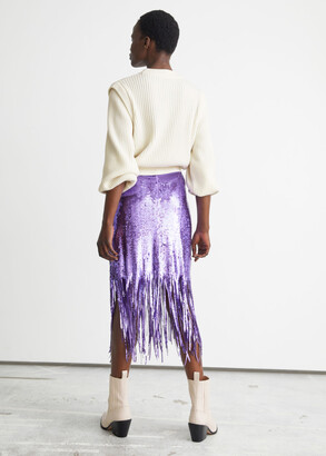 And other stories Sequin Fringe Midi Skirt