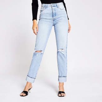 River Island Light blue rip super high rise straight jeans
