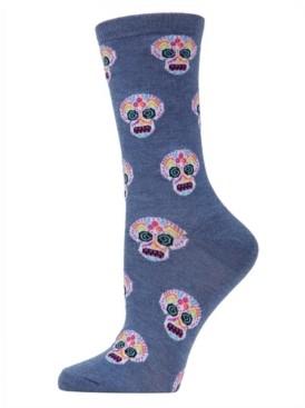 Me Moi MeMoi Women's Sugar Skull Halloween Crew Socks