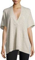 Vince Oversized V-Neck Short-Sleeve Sweater, Light Heather Marzipan