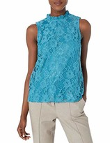 Nanette Lepore Nanette Women's Sleevelss Lace Top with Neck Ruffles