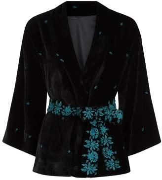 Beulah London Indrina Eden Border Velvet Kimono