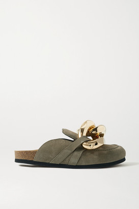 J.W.Anderson Chain-embellished Suede Slippers