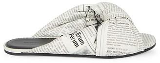 Balenciaga Drapy Newsprint Padded Leather Flat Mules
