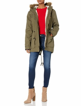 Angie Women's Faux Furry Lined Hooded Utility Jacket