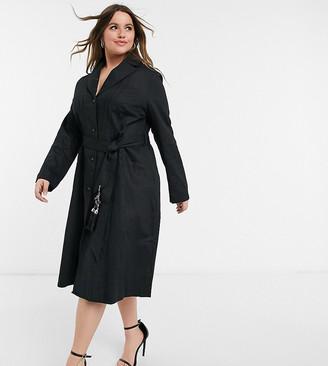 ELVI Plus slim coat with tassle detail in black