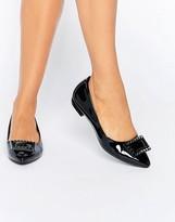 Daisy Street Point Black Flat Shoes
