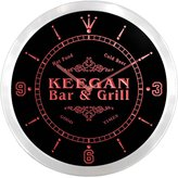 AdvPro Clock ncu22861-r KEEGAN Family Name Bar & Grill Cold Beer Neon Sign LED Wall Clock