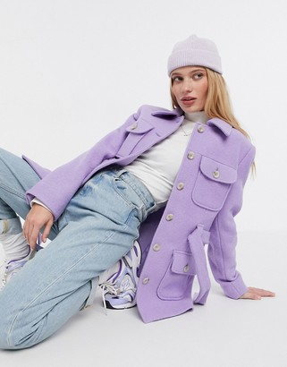 And other stories & boucle wool tie-waist jacket in purple