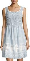 Max Studio Sleeveless Cotton Smocked Dress, Chambray/Off White