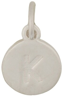 Mocha Round Plate Letter Sterling Silver Charm - K