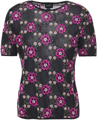Giambattista Valli Metallic Embroidered Cashmere And Silk-blend Top