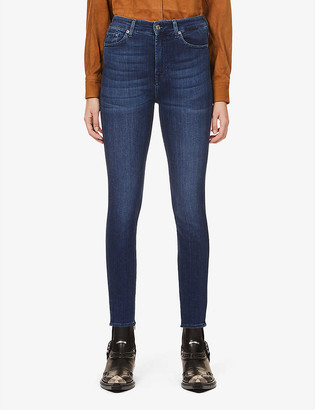 7 For All Mankind Aubrey skinny high-rise cotton-blend denim jeans