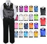 Leadertux 4pc Baby Toddler Kid Boy Formal Suit BLACK Pants Shirt Vest Necktie Set Sm-4T