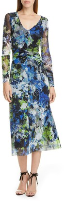Fuzzi Floral Print Long Sleeve Ruched Midi Dress