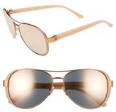 Tory Burch Women's 60Mm Aviator Sunglasses - Rose Gold
