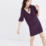 Madewell Silk Bell-Sleeve Dress in Painted Clover