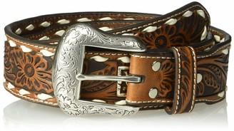 Nocona Belt Co. Unisex-Adults Floral Buckstitch Multi-Metal Belt
