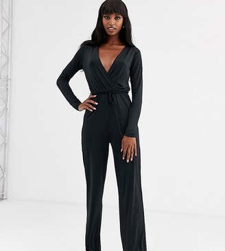 Noisy May Tall Festive long sleeve wrap jumpsuit