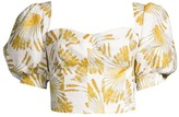 Azulu Coralina Puff-Sleeve Printed Linen Bustier Top
