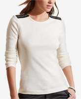 Lauren Ralph Lauren Faux-Leather-Trim Top