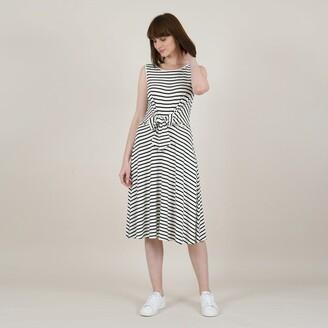 Molly Bracken Sleeveless Striped Midi Dress with Bow Trim
