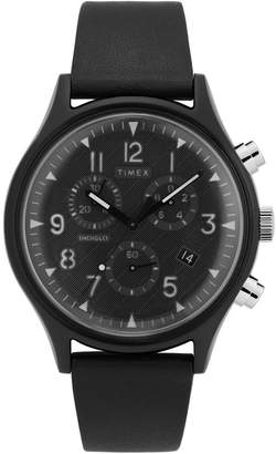 Timex MK1 Supernova Chronograph 42mm Black Leather Strap Watch