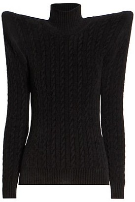 Balenciaga Winged Shoulder Cable Knit Turtleneck Sweater